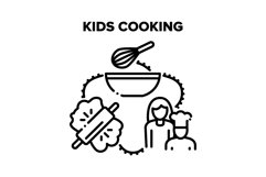 Kids Cooking Vector Black Illustrations Product Image 1