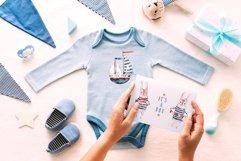 Cute Rabbit sailor. Kids watercolor sea clipart. Baby Bunny Product Image 7