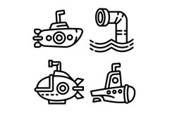 Periscope icons set, outline style Product Image 1