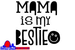 Mama is my bestie svg cut file cute baby onesie svg jpeg png Product Image 2