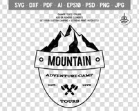 Retro Camping Insignia, Mountain Vector Logo Label SVG File Product Image 2