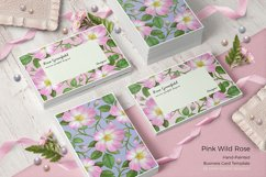 Pink Wild Rose PSD Business Card Template Product Image 1
