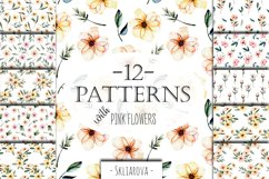 Pink watercolor flowers 12 Patterns Product Image 1
