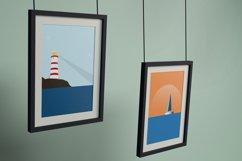 Set of illustrations, sea, girl, boat, lighthouse Product Image 2