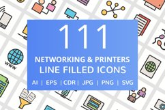 111 Networking & Printers Filled Line Icons Product Image 1