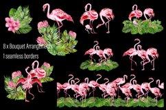Tropical flamingo clipart - watercolor birds Product Image 4