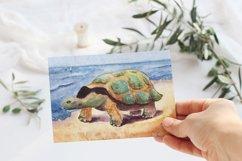 Seascape set of illustrations. Watercolor sea, ship, wave Product Image 4