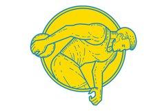 Discus Throw Athlete Side Circle Mono Line Product Image 1