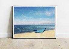 Boat And Sea - Watercolor - Wall Art - Digital Print Product Image 2