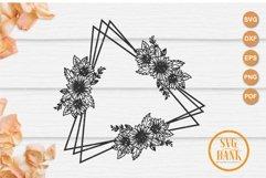 Triangle sunflower frame SVG, Wedding invitation frame Product Image 3