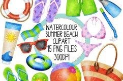 Watercolor Summer Beach Clip Art Set 2 Product Image 1