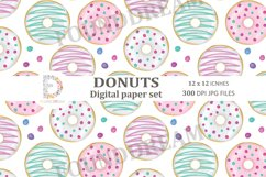 Donuts Digital Papers  12 x 12 inches 300DPI JPG files Product Image 2
