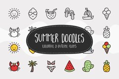 Summer Doodle Icons - Colorful & Outline Product Image 1