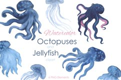 Watercolor clipart. Octopus and Jellyfish clipart. Product Image 1