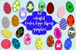 50 Colorful Easter Eggs Clipart-Cute Easter Eggs Clipart Product Image 1