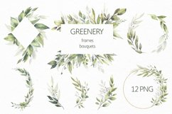 Watercolor Greenery Wreath Clipart. Product Image 1
