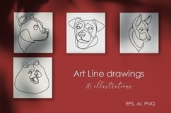 16 Dogs line drawings. Dog breeds Product Image 5