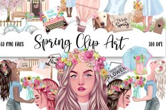 SPRING Clipart Planner FASHION Girl Clipart | Floral Planner Product Image 1