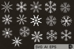 Snowflake clipart Pack. Vector illustrations. Svg Files. Product Image 1