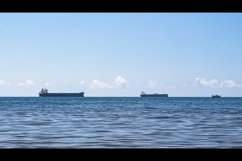 Close-up of the seascape. Blue sea and cargo ships. 3pcs Product Image 1
