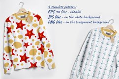 Vector illustration of sea shell, star and anchor. Patterns Product Image 2