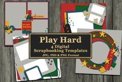 Play Hard Gaming Themed Digital Scrapbooking Templates Product Image 1