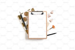 Clipboard mockup with frame made of stationery and notepads Product Image 1