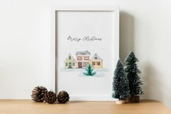 Winter Town. Watercolor Cards Product Image 4
