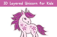 3D Layered Unicorn for Kids. Cut files Product Image 4