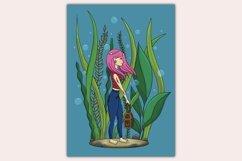 Girl Underwater Wall Decor - Printable Wall Art - Kids Room Product Image 4