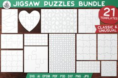 Puzzle Jigsaw SVG Templates Bundle - Classic, Heart, Unusual Product Image 1