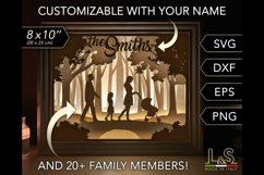 Customizable Family Shadow Box, 3D Paper Light Box Template Product Image 1
