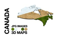CANADA 3D Maps Images Dry Earth Snow Grass Terrain Product Image 1