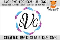 Feather Monogram Frame SVG Product Image 1