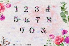 Romantic watercolor floral Monogram, Alphabets & Numbers set Product Image 3