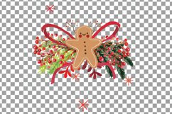 Christmas wreath Clip art, Holiday wreath, watercolor pine wood and berry fruits, leaves and gingerbread man, Watercolor Wreath Product Image 4