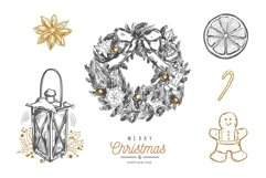 Merry Christmas and New Year vintage hand-drawn illustration Product Image 3
