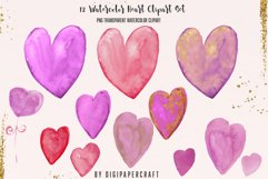 Valentine's Day Digital Paper, Romantic Watercolor clipart Product Image 4