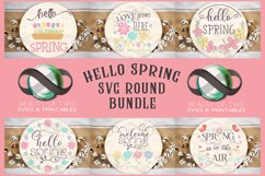 Farmhouse Spring SVG Round Svg Sign Bundle, 6 svg cut files Product Image 1