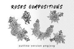 Wolf in roses set 100 hand-drawn Product Image 4