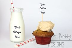 Cookie dough Cupcake Topper, Glass Milk Mock up with Straws Product Image 1