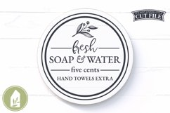 Fresh Soap and Water SVG, Bathroom SVG, Round Sign SVG Product Image 1
