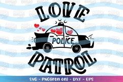 Valentine's Day svg Love Patrol Police Car cute Hearts Product Image 1