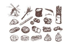 Bakery and bread vintage hand drawn collection Product Image 2
