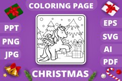 KDP Unicorns Christmas Coloring Book for Kids - 30 Pages Product Image 3