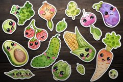 Kawaii Vegetables Clipart-watercolor . Cute vegetables Product Image 2