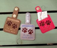ITH Pet Home Alone Paw Print Key Fob with Pocket - Snap Tab Machine Embroidery Product Image 3