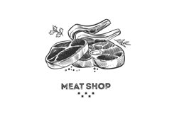 Meat products, fresh beafsteak and ribs hand drawn vector il Product Image 1