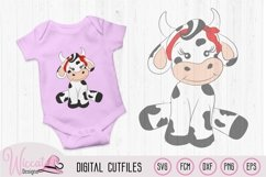 baby girl cow for baby nursery, Heifer baby, farm animal svg Product Image 1