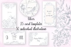 Card templates and floral illustrations in silver Product Image 1